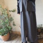 【RIM.ARK】2neck rib set knit ワンピース・Separate 2way スカート・Little flare denim