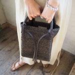 OUTERSUNSETより、今時期にお勧め!フードポンチョ・人気↗︎↗︎abaca basket bag mini